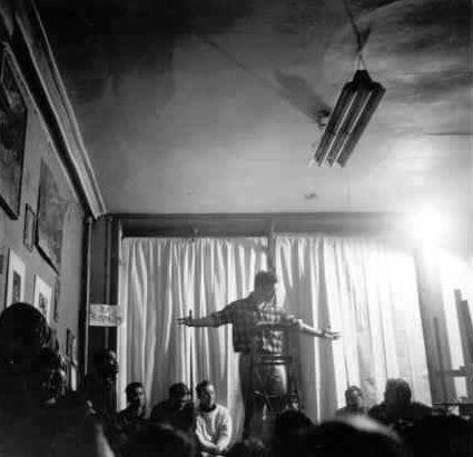 Patron saint No. 1: Jack Kerouac at a poetry reading.