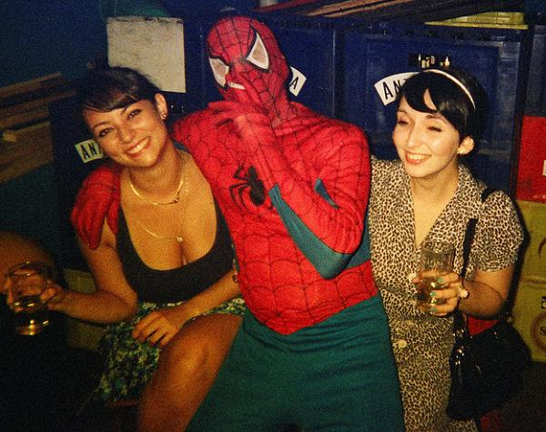 The Amazing Spider-Man relaxes off camera.